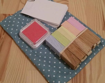 Geometric Stamp Set with Pink Ink Pad