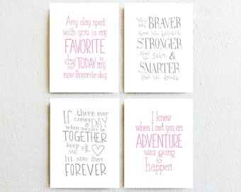 Baby Girl Nursery Decor - Winnie the Pooh Quote Prints - set 4 pink and gray inspirational wall art, new baby gift, baby shower gift