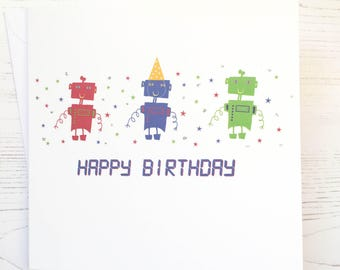Robot Birthday card - Robot card - hand embellished Robot birthday card  - Robot card - robots - boys birthday card