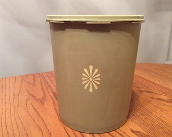 "Vintage Olive Green Tupperware 8.5"" Tall Canister with lid"