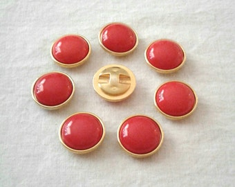 SALE -  Vintage Red with Gold Edged Plastic Buttons - Set of 8