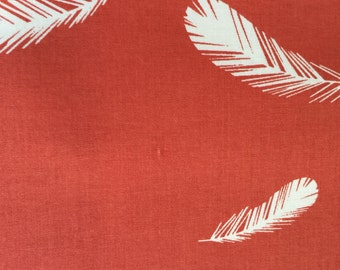 Feathers on Terra Cotta from the Charley Harper Nurture Collection by Birch Fabrics