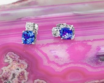 Tanzanite Earrings, Tanzanite And Diamond Earrings, Round Diamond Tanzanite Earrings, Cushion Tanzanite Stud Earrings | EAR01884