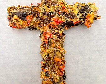 handmade original wood and plaster cross, painted wall sculpture, wall collage, orange, tangerine, burned