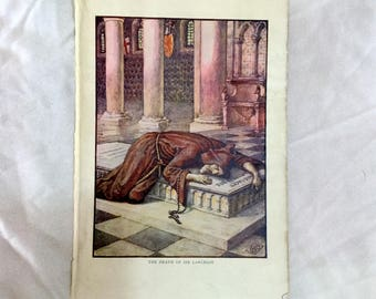 Walter Crane Color Art Print 1911 The Death of Sir Lancelot Knights of Round Table