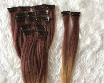 7Pcs Clip in Hair Extensions ombre like human hair_dark auburn to honey blonde_synthetic fiber
