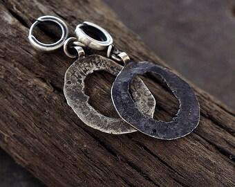 raw oxodised  silver disc earrings •  modern  hoop earrings • black silver • large size • 925 sterlong silver handmade earrings Gift for her