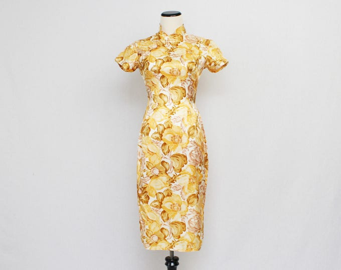Yellow Silk Floral Dress - Vintage 1950s Asian Mandarin Collar Sheath Dress