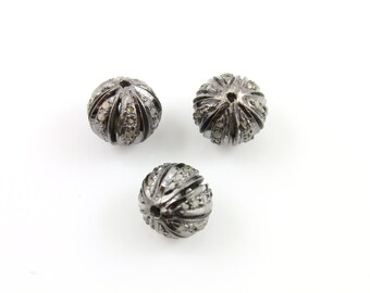 Pave Beads, Pave Diamond Beads, Pave Round Beads, Diamond Beads, Metal Beads, Pave Round, Pave Findings, Oxidized Silver. (DF/BD227)