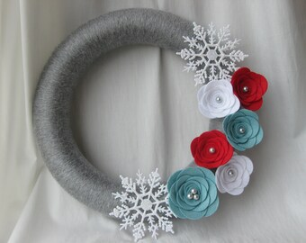 Holiday Wreath, Blue, Red, White and Silver Yarn and Felt Flower Wreath, Snowflake Wreath, Winter Wreath, Christmas Wreath 12 inches