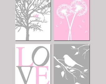 Baby Girl Nursery Art - Set of Four 8x10 Prints - Birds in a Tree, Dandelions, Love, Bird on a Branch - CHOOSE YOUR COLORS