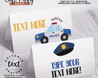 INSTANT DOWNLOAD - EDITABLE Police Birthday decorations Food Cards Cops and robbers printable decorations Police party sign favor tags