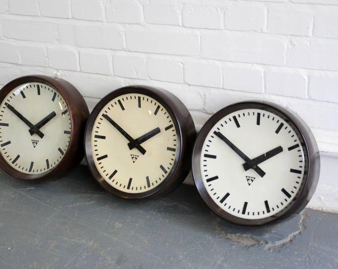 Modernist Bakelite Clocks By Pragotron Circa 1940s