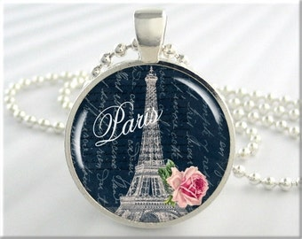 Eiffel Tower Charm, Resin Jewelry, Paris France, Eiffel Tower Necklace, Paris Travel Pendant, Round Silver, Gift Under 20 (076RS)