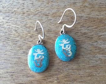 Turquoise Earrings, Coral Colour Stone Earrings, Oval Shaped Turquoise Inlay or Coral Colour Stone 925 Sterling Silver Earrings