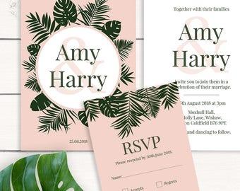 Botanical Wedding Invitations, RSVPs, Info Cards. Personalised Wedding Stationery.