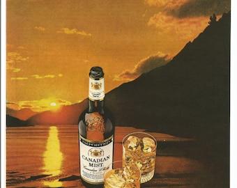 1981 Canadian Mist Advertisement Whisky Sunset  Medicine Lake Jasper Alberta Canada AB Rocky Mountains Rockies Bar Pub Wall Art Decor