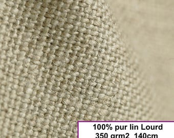fabric linen heavy - 140cm (natural collar), by the meter weight 350 gr M2 french weaving brand Linder