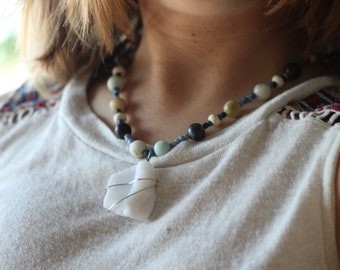 White and Blue Found Porcelain Necklace