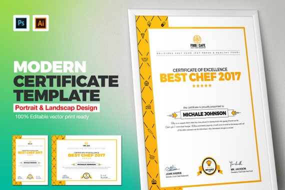 Modern certificate template multipurpose certificate modern certificate template multipurpose certificate template psd and eps certificate business award certificate instant download yelopaper Images