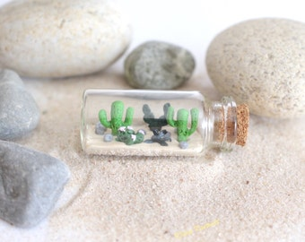 Cactus Miniature bottle nature polymer clay decoration succulent homedecoration