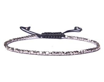 Men's Silver Bracelet - Men's beaded bracelet - Men's Jewelry - Men's Gift - Boyfriend Gift - Husband Gift - Gift For Him - Men Jewelry