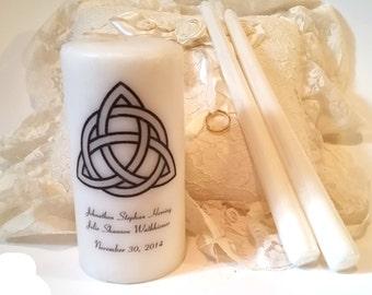 Wedding Candle Set, Trinity Unity Candle, Triquetra Unity Candle, Unity Candle Set, Celtic Unity Candle Set, Personalized Unity Candle