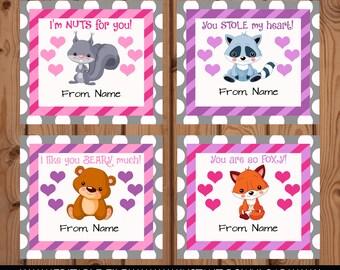 Woodland Animals Valentines, Woodland Valentine, Woodland Valentine Card, Animal Valentine Card, Editable Valentine Card, Fox Card, Squirrel