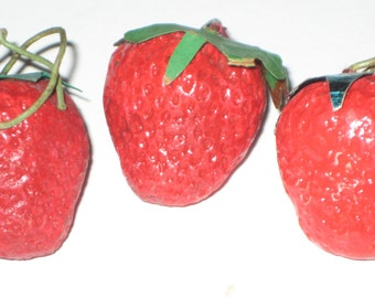 3 Small Vintage Red Strawberries for Crafting