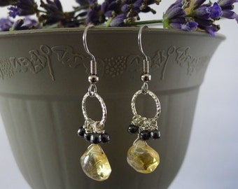 Citrine and Onyx on Sterling Silver ring-Lena Earrings
