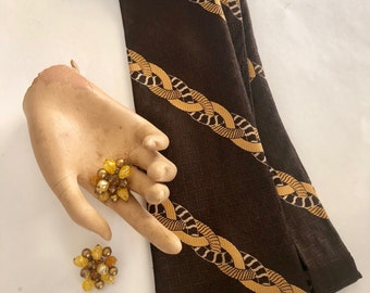 Chocolate and Carmel HIS and HER Tie/Clip On Earring Pairing