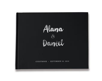 Black and Silver Wedding Guest Book, Real Silver Foil Guest Book Wedding, Black Guest Book, Color Choices Available, GB 064