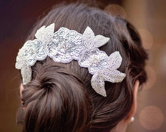 Silver Headpiece, Bridal Headpiece, Wedding Hair Piece, Beaded Hair Comb, Silver Hair Comb, Sparkly Comb, Wedding Comb, Grecian Bridal Comb