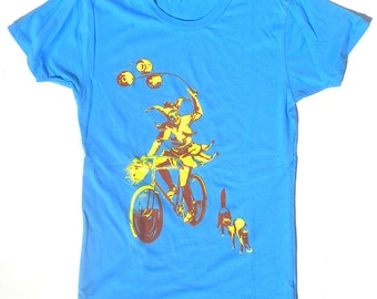 Woman's Bicycle T-Shirt, The Jester, in Light Blue