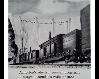 Hoover Dam Train Railway Box Cars and  Illustrated Railroad Train 1959 and Hydro Dam Electric Advert.  BW Drawing.  Ready for Framing.