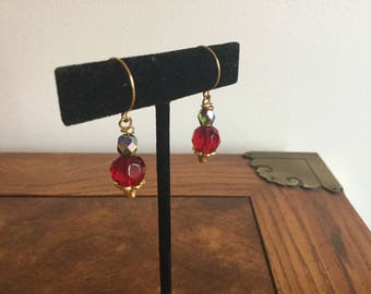 Genuine Ruby, Drop  Earrings, gift , olivine crystal ,semiprecious