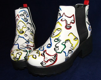 Primary colour abstract faces platform Chelsea boots