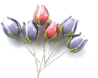 Handmade flower bud headpins made on silver wire / 925 / beading / wire wrap