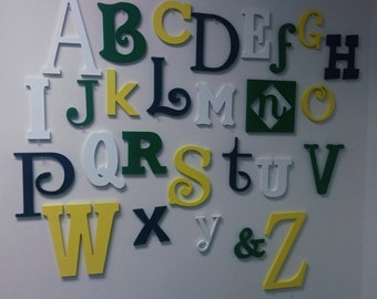 Wooden Alphabet Letters Alphabet Wall - ABC Wall -Alphabet Set - Wooden Letters - Painted Wall Letters, Painted Wood Letters Varying Sizes