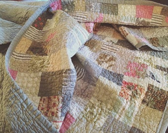 made to order-- miss havisham farmhouse quilt -- king size -- pale gray, cream, linen, soft
