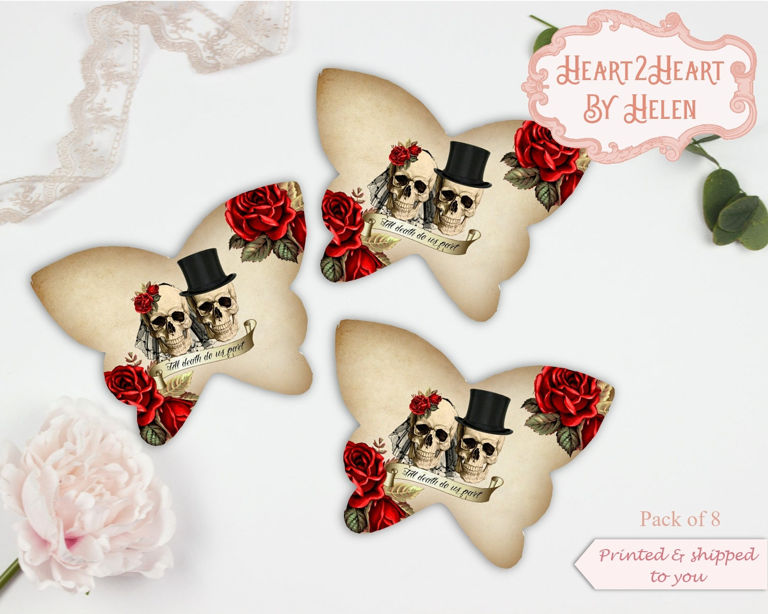 Skull Butterfly Cards, Gothic Wedding, Gothic Table Decor, Halloween ...