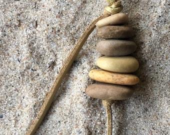 "Lake Michigan Beach stone ""Cairn"" pendant"