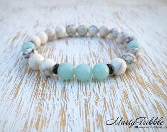 Amazonite Bracelet, Magnesite Jewelry, Boho Jewelry, Earthy Bracelet, Energy Bracelet, Amazonite Jewelry, Gemstone Bracelet, Mala Bracelet