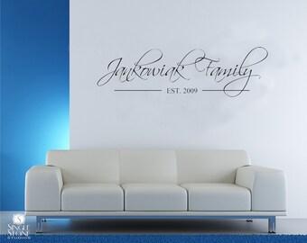 Family Established Vinyl Family Name Monogram Decal Family Decal Vinyl Wall Art Vinyl Decal