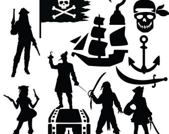 Pirates svg clipart silhouette - Pirate girls and pirate man vector files pirate element collection  clip art svg, dxf, eps, png