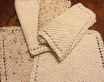 Set of 5 hand knitted kitchen dishcloths