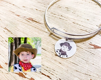 Photo Engraved Charm Bracelet