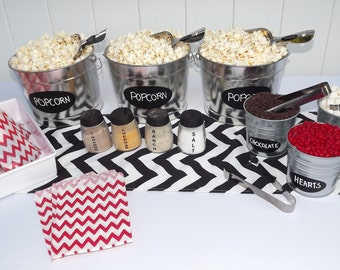 Popcorn Bar Red Black & White Chevron Party in a Box