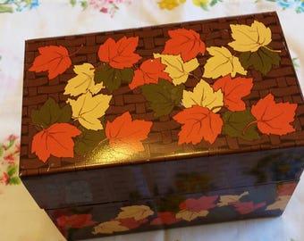 Autumn Leaves Recipe File Box