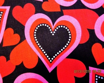 HEART FABRIC Vip Cranston Print Works -  Stylized Hearts on Black 1 Yard - #M29